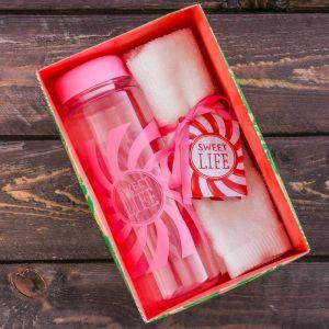 Набор «Sweet life»: бутылка для воды 500 мл, полотенце 30 см ? 30 см 2588982