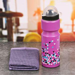 Набор «Треугольники»: бутылка для воды 800 мл, полотенце 30 см ? 30 см, чехол 2588931