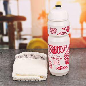 Набор «Хорошего дня»: бутылка для воды 800 мл, полотенце 30 см ? 30 см, чехол 2588947