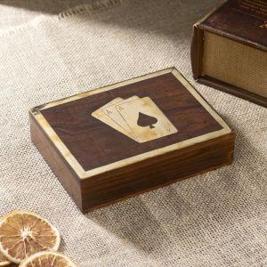 "Шкатулка дерево ""Две колоды карт"" 15,5х11,5х4 см   4223356"