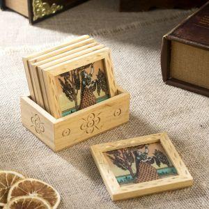 "Подставки под горячее ""Мира"" дерево,текстиль,песок, стекло 7,5х10х9 см   4206022"