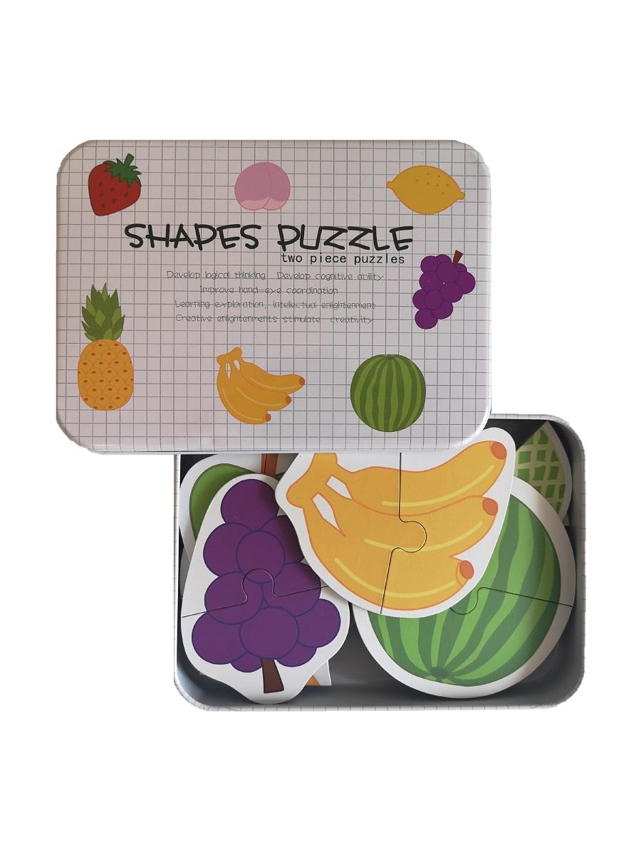Развивающие деревянные пазлы в жестяной коробке набор - ФРУКТЫ SHAPES PUZZLE 26 деталей, 13 видов фруктов для детей от 3-х лет