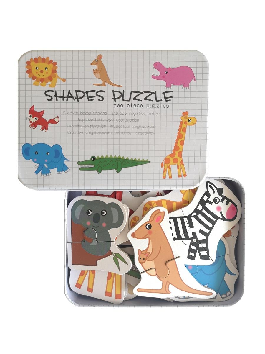 Развивающие деревянные пазлы в жестяной коробке коллекция - Животные SHAPES PUZZLE 26 деталей, 13 видов животных для детей от 3-х лет