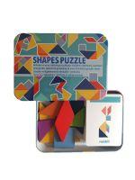 Развивающие пазлы деревянный танграм Фигуры SHAPES PUZZLE 120 заданий, 60 карточек в жестяной коробке для детей от 3-х лет