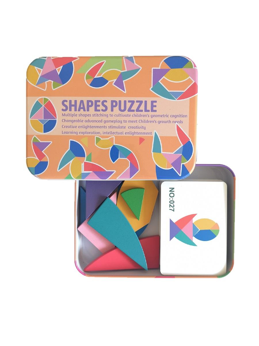 Развивающие пазлы деревянный танграм SHAPES PUZZLE 100 заданий, 50 карточек в жестяной коробке для детей от 3-х лет