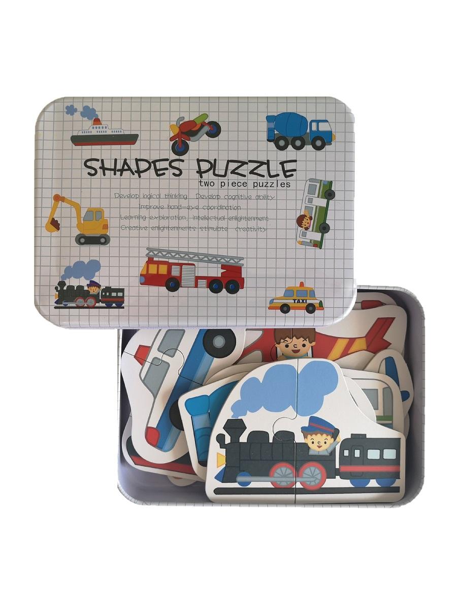 Развивающие деревянные пазлы Машины SHAPES PUZZLE 24 детали, 12 видов транспорта в жестяной коробке для детей от 3-х лет