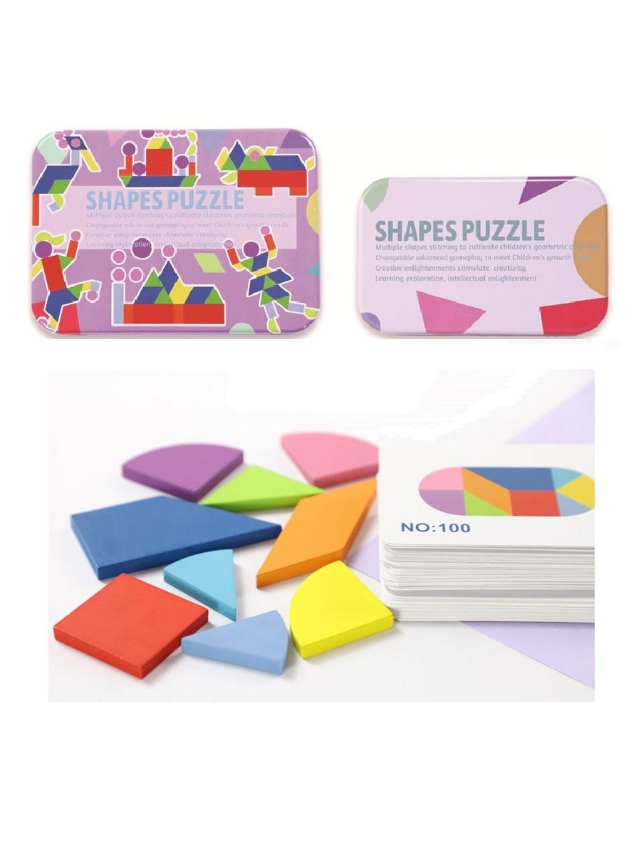 Развивающие деревянные пазлы в жестяной коробке SHAPES PUZZLE 120 заданий, 60 карточек, 34 детали для детей от 3-х лет