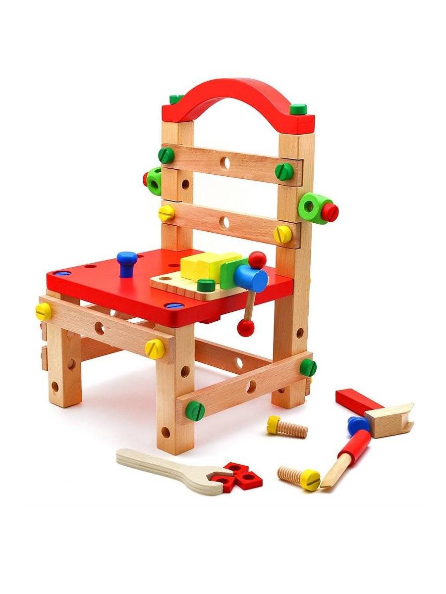 Конструктор деревянный Стул с набором столярных инструментов QZM TOY 22х22х38 см для детей от 3-х лет