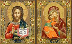 Венчальная пара: Владимирская икона Божией Матери и Господь Вседержитель