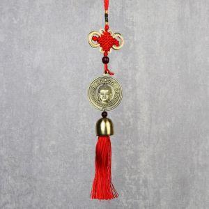 "Подвеска металл, текстиль ""Будда на монете"" 37 см   4470350"