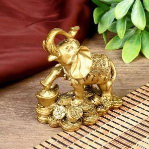 """Нэцке полистоун """"Слон с монетами"""" бронза 8,5х8 см 221782"""