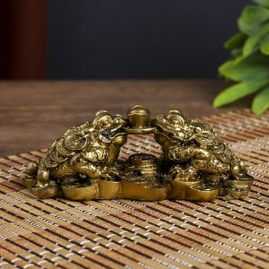 "Нэцке полистоун бронза ""Две денежных жабы держат на монете слиток"" 4,3х12х5 см   4128563"