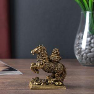 """Нэцке полистоун бронза """"Конь с чашей золотых слитков на спине"""" 9х7х4,5 см   4559580"""
