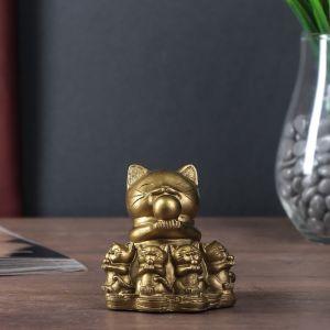 "Нэцке полистоун бронза ""Кот манэки-нэко с котятами"" 7,5х6,5х7 см   4559576"