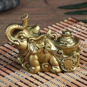 """Нэцке полистоун под бронзу """"Слон с тележкой золота"""" 7х4х8,5 см   4634924"""