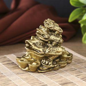 "Нэцкэ полистоун под бронзу ""Три жабы - пирамида"" 7х8,8х6,3 см   3912971"