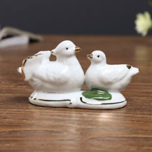 сувенир керамика под фарфор уточка мандаринка с малышом 5*9,7*3,5 см 566240