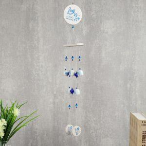 """Музыка ветра """"Голубые цветочки на белом"""" 5 колокольчиков 77 см 2325532"""