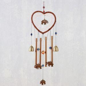 """Музыка ветра+ловец снов """"Слоны и сердце"""" 4 трубки 2 колокольчика 62х16,5х3 см   4635025"""