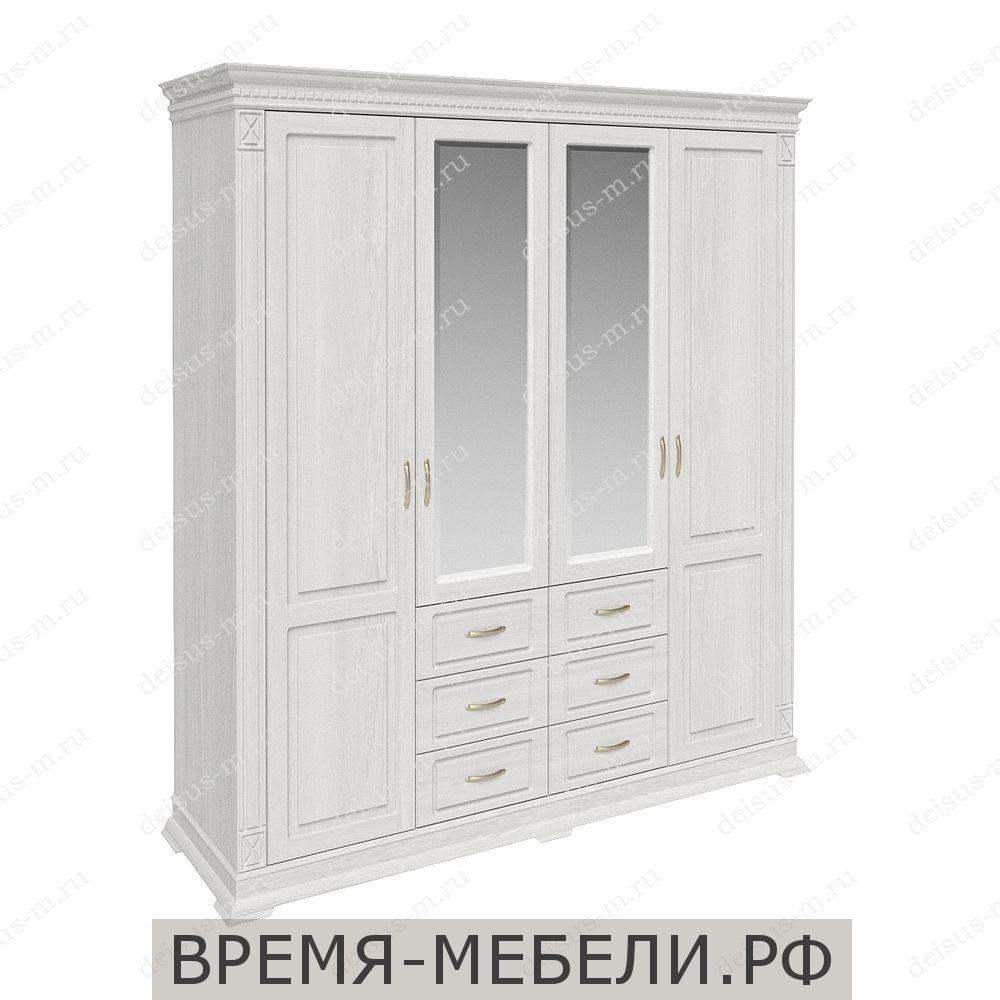 Шкаф четырехстворчатый Верди-М 1 Белый эмаль