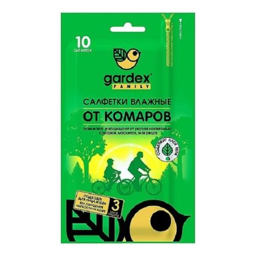 Салфетки влажные Gardex Family от комаров 10 шт