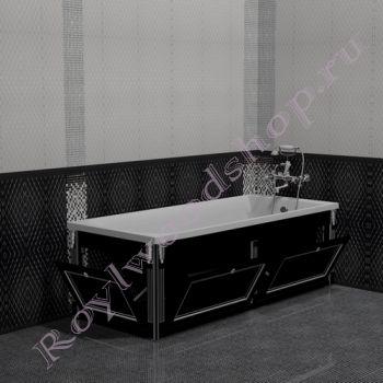 """Экран для ванны """"Руссильон PROVENCE откидной, черный с серебром"""""""