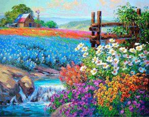 Алмазная мозаика «Цветочное поле» 40x50 см