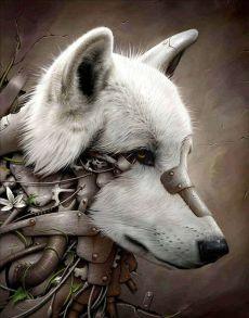 Алмазная мозаика «Собака стимпанк» 40x50 см
