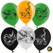 Воздушный шар (12''/30 см) Эра Динозавров, Ассорти, пастель, 2 ст, 50 шт.