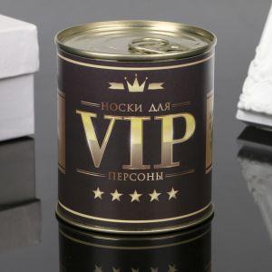 """Носки в банке """"Для VIP персон"""" (внутри носки мужские, цвет чёрный) 4359564"""