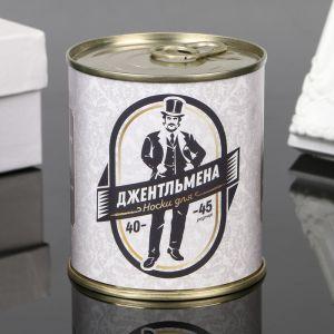 """Носки в банке """"Для джентльмена"""" (внутри носки мужские, цвет чёрный) 4359574"""