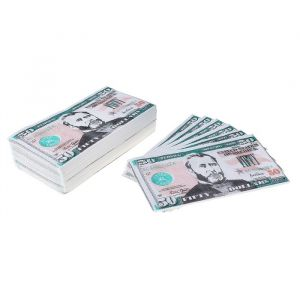 """Сувенирные салфетки бумажные """"Пачка денег 50 долларов"""" двухслойные 25 листов 33х33 см"""