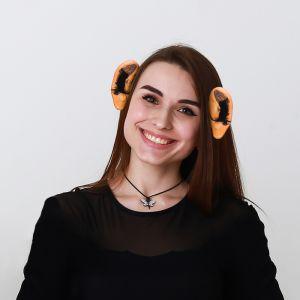 Уши на ободке, с волосами