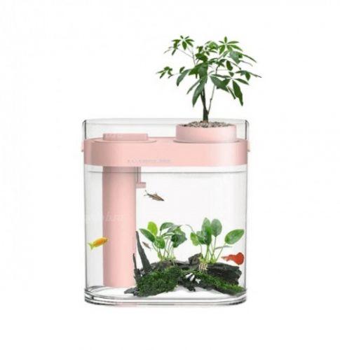 Аквариум Xiaomi Geometry Amphibious Ecological Fish Tank Separable Humidifier Pink