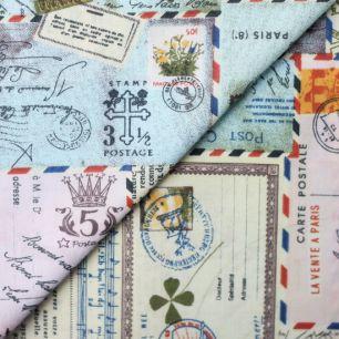 Ткань Хлопок Почтовые марки 45х38