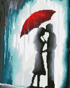 Алмазная мозаика «Нежность под дождем» 40x50 см