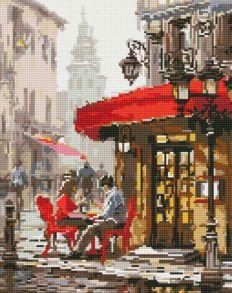 Алмазная мозаика «Влюбленные в кафе» 40x50 см