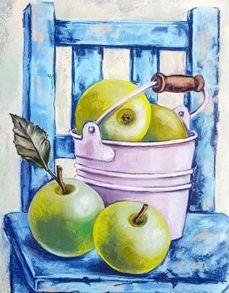 Алмазная мозаика «Натюрморт с зелеными яблоками» 40x50 см