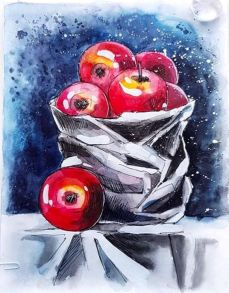 Алмазная мозаика «Натюрморт с яблоками» 40x50 см