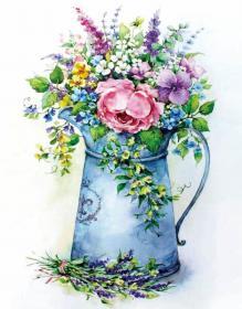 Алмазная мозаика «Романтичный букет в лейке» 40x50 см
