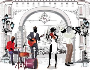 Алмазная мозаика «Уличные музыканты» 40x50 см