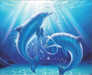 Алмазная мозаика «Дельфины в игре» 40x50 см