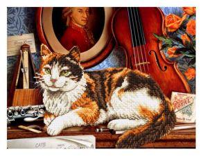 Алмазная мозаика «Кот и скрипка» 40x50 см
