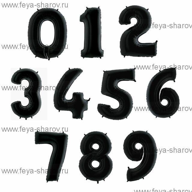 Шар-цифра Черная 102 см