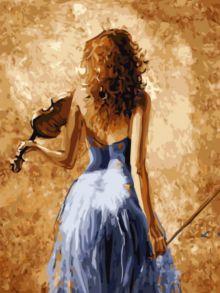 Алмазная мозаика «Девушка Со Скрипкой (без подрамника)» 30x40 см