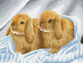 Алмазная мозаика «Братья - кролики (без подрамника)» 30x40 см