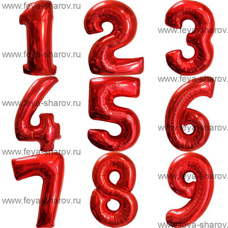 Шар-цифра 102 см Красный