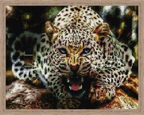 Алмазная мозаика «Рычащий леопард» 40x50 см