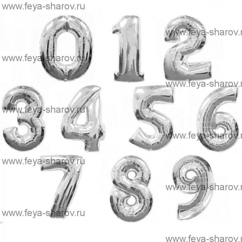 Шар-цифра 102 см Серебро