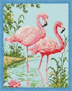 Алмазная мозаика «Парочка розовых фламинго» 40x50 см